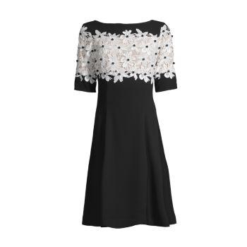 Кружева Fit & amp; Расклешенное креповое платье трапециевидной формы SHANI