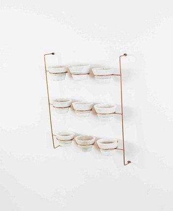 Белые глиняные горшки для мытья посуды на настенной стойке с медной отделкой, набор из 9 шт. KALALOU