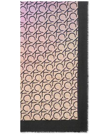 Квадратный шарф Ombré с повторяющимся логотипом Calvin Klein