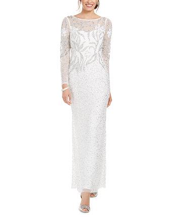 Украшенное платье иллюзии Adrianna Papell