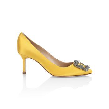 Атласные туфли Hangisi 70 с украшением Manolo Blahnik