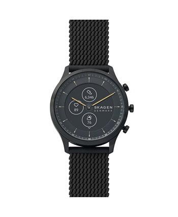 Мужские и женские гибридные умные часы HR Jorn с черным силиконовым ремешком 42 мм Skagen