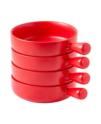 Чаша для матовой глазури на 20 унций с ручкой Формы для выпечки для французского лукового супа, набор из 4 шт. Bruntmor