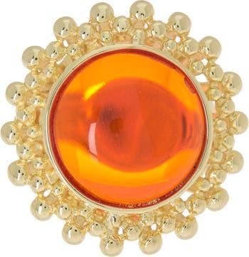 Текстурированное коктейльное кольцо с покрытием из желтого золота 14 карат Covet