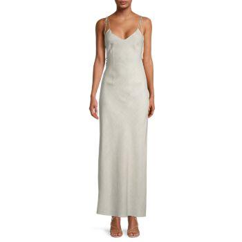 Льняное макси-платье с завязками на плечах DANNIJO