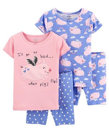 Хлопковые пижамы со свиньей для новорожденных, 4 шт. Carter's