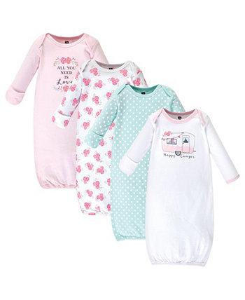 Хлопковые платья для маленьких девочек, 4 шт. В упаковке Hudson Baby