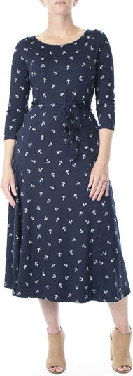 Платье миди с круглым вырезом и рукавами 3/4 Nina Leonard