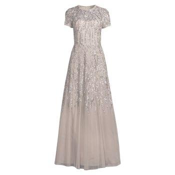 Бальное платье с короткими рукавами и полностью расшитым бисером Aidan Mattox