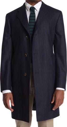 Темно-синее шерстяное пальто в клетку Archer Hickey Freeman