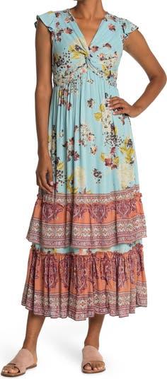 Twist Front Ruffle Sleeve Maxi Dress Angie