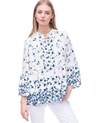Блуза с баской на рукавах-колокольчиках и завязкой на воротнике Fever