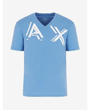 Мужская футболка с V-образным вырезом и логотипом AX 3-D Armani Exchange