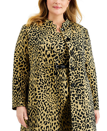Длинная куртка большого размера с животным принтом и воротником-стойкой Kasper