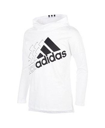 Футболка Big Girls с капюшоном и рисунком Adidas