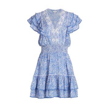 Мини-платье трапециевидной формы Camilia с оборками и пейсли Poupette St Barth