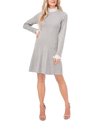 Платье-свитер с оборками и манжетами CeCe
