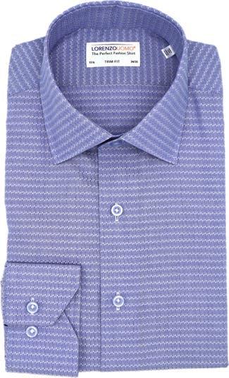 Эластичная классическая рубашка с текстурированной отделкой и геометрическим принтом Lorenzo Uomo