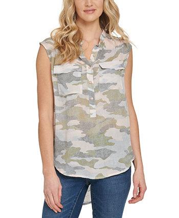 Printed Mandarin-Collar Sleeveless Shirt DKNY Jeans
