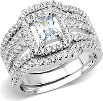 Многослойное массивное кольцо из латуни CZ с родиевым покрытием Covet