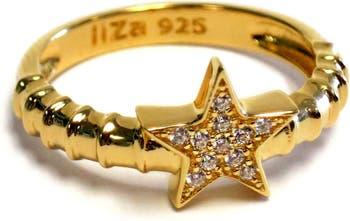Кольцо со звездой CZ и паве из стерлингового серебра с позолотой 18 карат Liza Schwartz