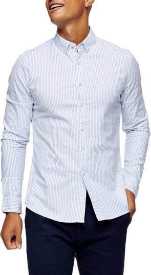 Эластичная оксфордская рубашка в тонкую полоску на пуговицах скинни TOPMAN