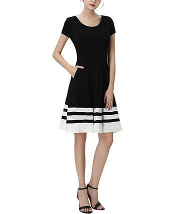 Женское расклешенное платье с цветными блоками Jessica Kimi + kai
