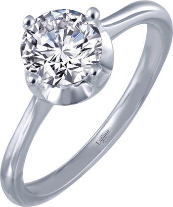 Помолвочное кольцо-солитер с имитацией бриллианта из стерлингового серебра с платиновым покрытием и круглой огранкой LaFonn