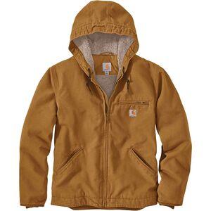 Куртка Carhartt OJ392 с капюшоном на подкладке из шерпы с потертой уткой Carhartt