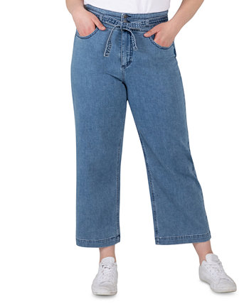 Модные широкие укороченные джинсы больших размеров с поясом с высокой посадкой Silver Jeans Co.