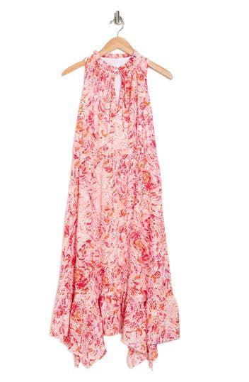 Floral Ruffle Tie Neck Blouson Midi Dress London Times