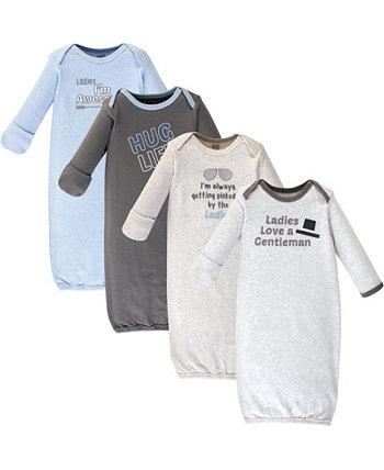 Хлопковые платья Baby Boy и Girl, 4 упаковки Luvable Friends