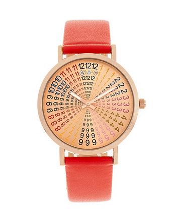 Унисекс Фортуна Красные часы с ремешком из натуральной кожи 38мм Crayo