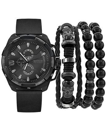Мужские часы с черным полиуретановым ремешком, 40 мм, подарочный набор American Exchange