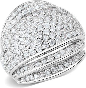 Круглое массивное кольцо с паве из CZ-паве Covet