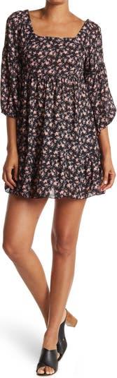 Платье прямого кроя с квадратным вырезом и воздушными рукавами с цветочным принтом KENEDIK