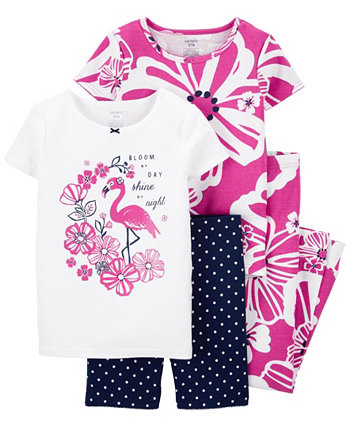 Little Girls Floral Snug Fit Pajama, 4 Piece Set Carter's