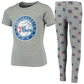 Youth Heathered Gray Philadelphia 76ers Team T-Shirt & Pants Sleep Set Outerstuff