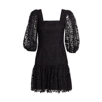Кружевное мини-платье с объемными рукавами ML Monique Lhuillier