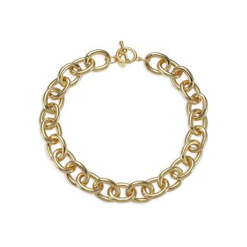 20K Goldplated Chunky-Link Toggle Necklace Kenneth Jay Lane