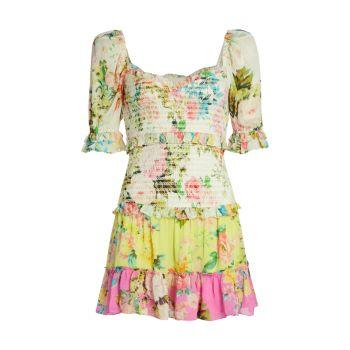 Мини-платье со сборками и цветочным принтом HEMANT & NANDITA