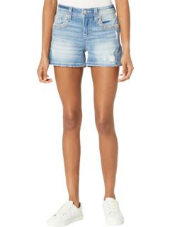Sequin Trim Flap Border Mid-Rise Shorts in Light Blue Miss Me