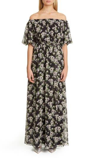 Floral Print Off the Shoulder Maxi Dress Adam Lippes