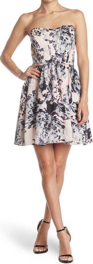 Floral Tarpunto Strapless Dress Parker