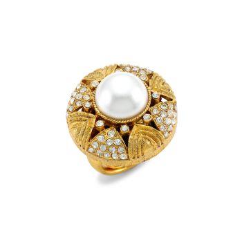 22K античное золочение, кристалл и amp; Коктейльное кольцо с искусственным жемчугом Kenneth Jay Lane