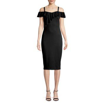 Платье-футляр с оборками и открытыми плечами Bailey 44
