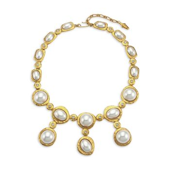 Satin Goldplated, Faux Pearl Cabochon & Crystal Drop Necklace Kenneth Jay Lane