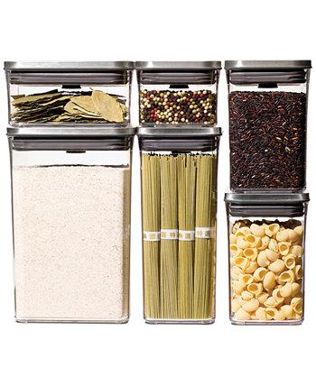 Стальные контейнеры для хранения пищевых продуктов Pop, 6 шт. Oxo