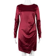Juniors' Speechless Long Sleeve Satin Bodycon Dress with Asymmetrical Hemline Speechless