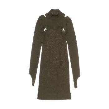 Платье с вырезом в рубчик Helmut Lang